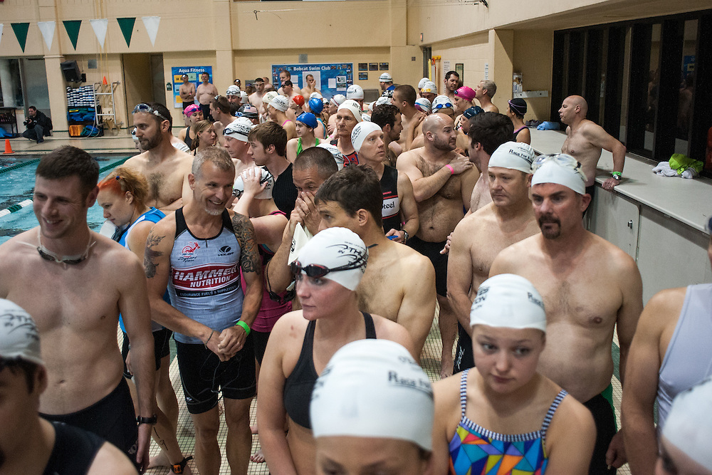 Swimmers wait for the start of the Race for a Reason Triathlon. Photo by: Ross Brinkerhoff. Race for a Reason, Race 4 A Reason, Annual Events, Events, Students, Faculty & Staff