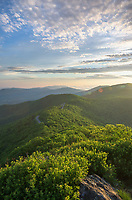 The lush green mountains of Shenandoah National Park and Skyline Drive as seen from Little Stony Man along the Appalachian Trail.