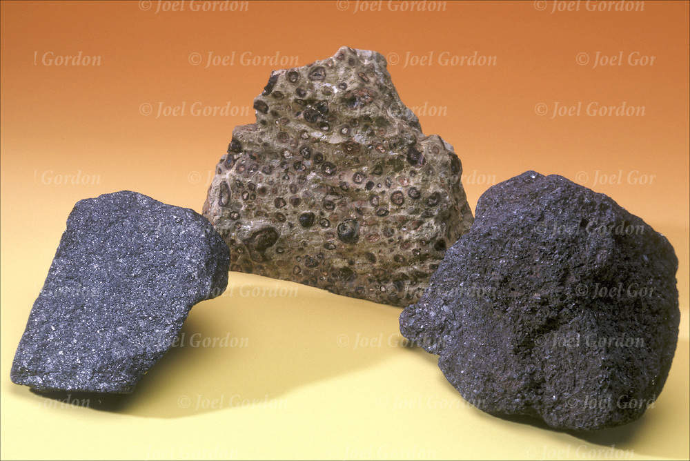 Oxide ores (from left to right: Magnetite, Bauxite, Hematite)