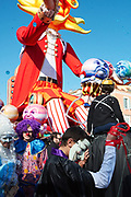 France, Nice, 19 February 2017. Carnaval de Nice,  scene at standing area during the Parada Nissarda.