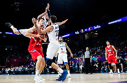 Ognjen Kuzmic of Serbia vs Marco Cusin of Italy and Luigi Datome of Italy during basketball match between National Teams of Italy and Serbia at Day 14 in Round of 16 of the FIBA EuroBasket 2017 at Sinan Erdem Dome in Istanbul, Turkey on September 13, 2017. Photo by Vid Ponikvar / Sportida