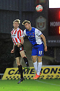 George McLennan and Rhys Oates during the The FA Cup match between Hartlepool United and Cheltenham Town at Victoria Park, Hartlepool, England on 7 November 2015. Photo by Antony Thompson.