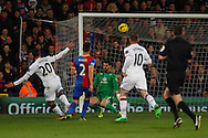 Robin van Persie of Manchester United (left) misses a chance to open the scoring during the Barclays Premier League match at Selhurst Park, London<br /> Picture by David Horn/Focus Images Ltd +44 7545 970036<br /> 22/02/2014