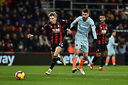 Chelsea Midfielder, Jorginho (5) beats AFC Bournemouth Midfielder, David Brooks (20) to the ball during the Premier League match between Bournemouth and Chelsea at the Vitality Stadium, Bournemouth, England on 30 January 2019.