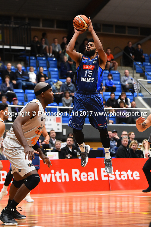 Giants player Dion Prewster during their NBL Basketball game Nelson Giants v Hawke`s Bay Hawks. Trafalgar Centre, Nelson, New Zealand. Friday 19 May 2017. ©Copyright Photo: Chris Symes / www.photosport.nz