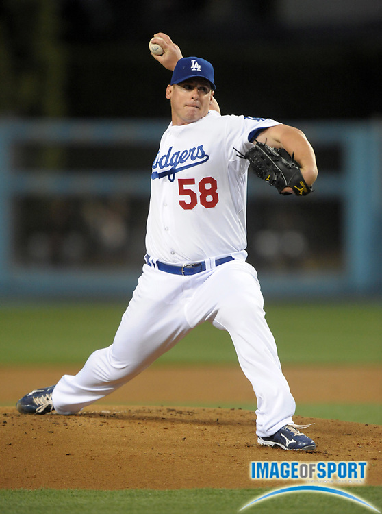 Apr 11, 2012; Los Angeles, CA, USA; Los Angeles Dodgers starter Chad Billingsley (58) delivers a pitch against the Pittsburgh Pirates at Dodger Stadium.
