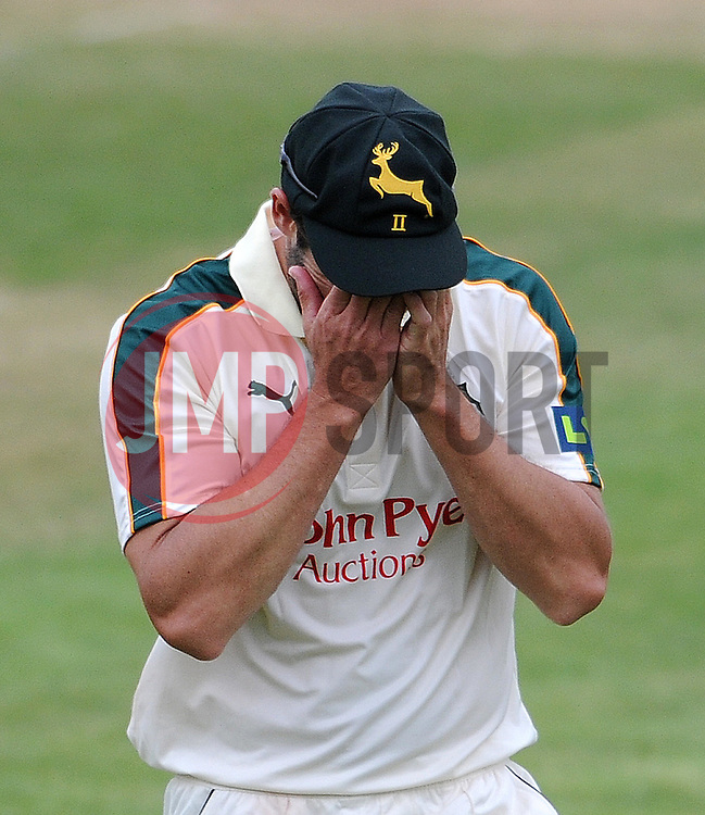 Dejection for Nottinghamshire's Ben Hilfenhaus after dropping a catch. - Photo mandatory by-line: Harry Trump/JMP - Mobile: 07966 386802 - 17/06/15 - SPORT - CRICKET - LVCC County Championship - Division One - Day Four - Somerset v Nottinghamshire - The County Ground, Taunton, England.