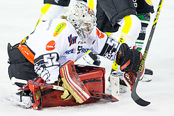 14.11.2014, Hala Tivoli, Ljubljana, SLO, EBEL, HDD Telemach Olimpija Ljubljana vs Dornbirner Eishockey Club, 18. Runde, in picture Nathan Lawson (Dornbirner Eishockey Club, #52) during the Erste Bank Icehockey League 18. Round between HDD Telemach Olimpija Ljubljana and Dornbirner Eishockey Club at the Hala Tivoli, Ljubljana, Slovenia on 2014/11/14. Photo by Matic Klansek Velej / Sportida