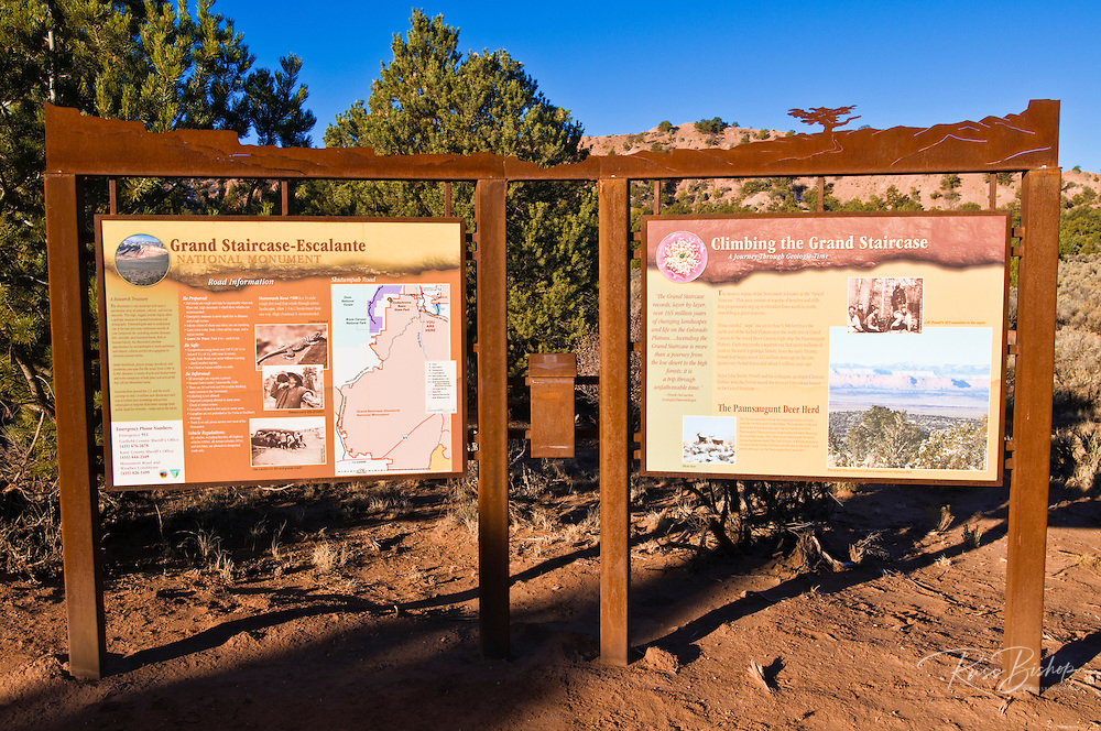 Interpretive signs and map of Grand Staircase-Escalante National Monument, Utah