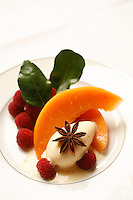 l'Ambroisie, Chef Bernard Pacaud, Place des Vosges, Paris..l'Ambroisie is a Michelin three star restaurant...Cristallines de melon aux framboises, glace à l'anis étoilé...............