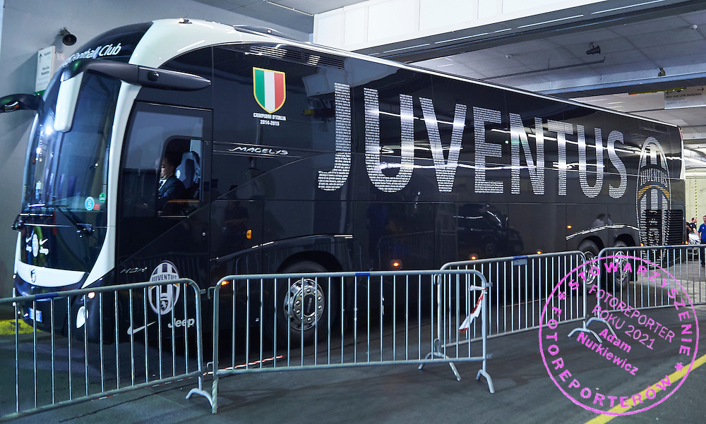Official bus of Juventus team during the 2014/15 UEFA Champions League Final between Juventus and FC Barcelona at Olympiastadion on June 6, 2015 in Berlin, Germany.<br /> Germany, Berlin, June 6, 2015<br /> <br /> Picture also available in RAW (NEF) or TIFF format on special request.<br /> <br /> For editorial use only. Any commercial or promotional use requires permission.<br /> <br /> Adam Nurkiewicz declares that he has no rights to the image of people at the photographs of his authorship.<br /> <br /> Mandatory credit:<br /> Photo by &copy; Adam Nurkiewicz / Mediasport