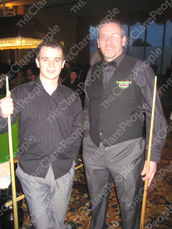 Fergal Gallagher and Tony Markham at the fund-raising snooker tournament in the West County Hotel.