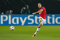 27.11.2013, BayArena, Leverkusen, GER, UEFA CL, Bayer Leverkusen vs Manchester United, Gruppe A, im Bild Rio Ferdinand #5 (Manchester United) schiesst den Ball Aktion, Action // during UEFA Champions League group A match between Bayer Leverkusen vs Manchester United at the BayArena in Leverkusen, Germany on 2013/11/28. EXPA Pictures © 2013, PhotoCredit: EXPA/ Eibner-Pressefoto/ Grimme<br /> <br /> *****ATTENTION - OUT of GER*****