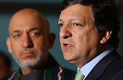 BRUSSELS, BELGIUM - MAY-12-2005 - Afgan President Hamid Karzai (L) and the President of the European Commission Jose Manuel Barroso (R), hold a press briefing after a bilateral meeting, at the European Commission in Brussels. (PHOTO © JOCK FISTICK)
