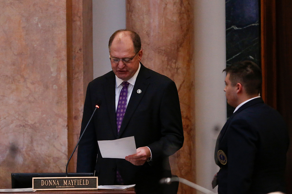 Speaker of the House Rep. Jeff Hoover, R-Russell, reads his resignation letter from the Speaker of the House in a floor speech during the General Assembly in the State Capitol in Frankfort, Ky., Monday, January 8, 2018.
