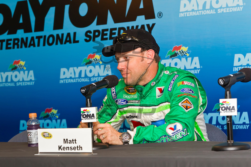 12 January, 2012:   Matt Kenseth (17) takes questions from reporters during open testing for the NASCAR Sprint Cup Series at the Daytona International Speedway in Daytona Beach, FL.