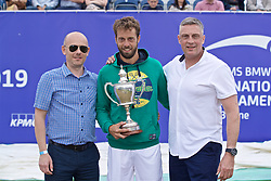 LIVERPOOL, ENGLAND - Sunday, June 23, 2019: Paulo Lorenzi (ITA) (C) with sponsors xxxx (L) and xxxx (R) during the Men's Final on Day Four of the Liverpool International Tennis Tournament 2019 at the Liverpool Cricket Club. (Pic by David Rawcliffe/Propaganda)