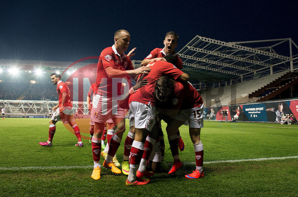 Bristol City's Kieran Agard celebrates with his team mates after scoring. - Photo mandatory by-line: Dougie Allward/JMP - Mobile: 07966 386802 - 07/04/2015 - SPORT - Football - Bristol - Ashton Gate - Bristol City v Swindon Town - Sky Bet League One