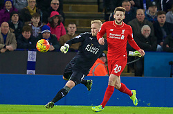 LEICESTER, ENGLAND - Monday, February 1, 2016: Liverpool's Adam Lallana and Leicester City's goalkeeper Kasper Schmeichel during the Premier League match at Filbert Way. (Pic by David Rawcliffe/Propaganda)