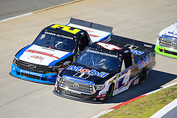 March 23, 2019 - Martinsville, VA, U.S. - MARTINSVILLE, VA - MARCH 23:  #2: Sheldon Creed, GMS Racing, Chevrolet Silverado A.M.Ortega/RTL battles #4: Todd Gilliland, Kyle Busch Motorsports, Toyota Tundra Mobil 1 during the 21st running of the NASCAR Gander Outdoors Truck Series TruNorth Global 250 race on March 23, 2019 at the Martinsville Speedway in Martinsville, VA.  (Photo by David John Griffin/Icon Sportswire) (Credit Image: © David J. Griffin/Icon SMI via ZUMA Press)