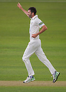 Graham Onions(Durham County Cricket Club ) celebrates taking the wicket of Alex Z Lees (Yorkshire CCC) during the LV County Championship Div 1 match between Durham County Cricket Club and Yorkshire County Cricket Club at the Emirates Durham ICG Ground, Chester-le-Street, United Kingdom on 28 June 2015. Photo by George Ledger.