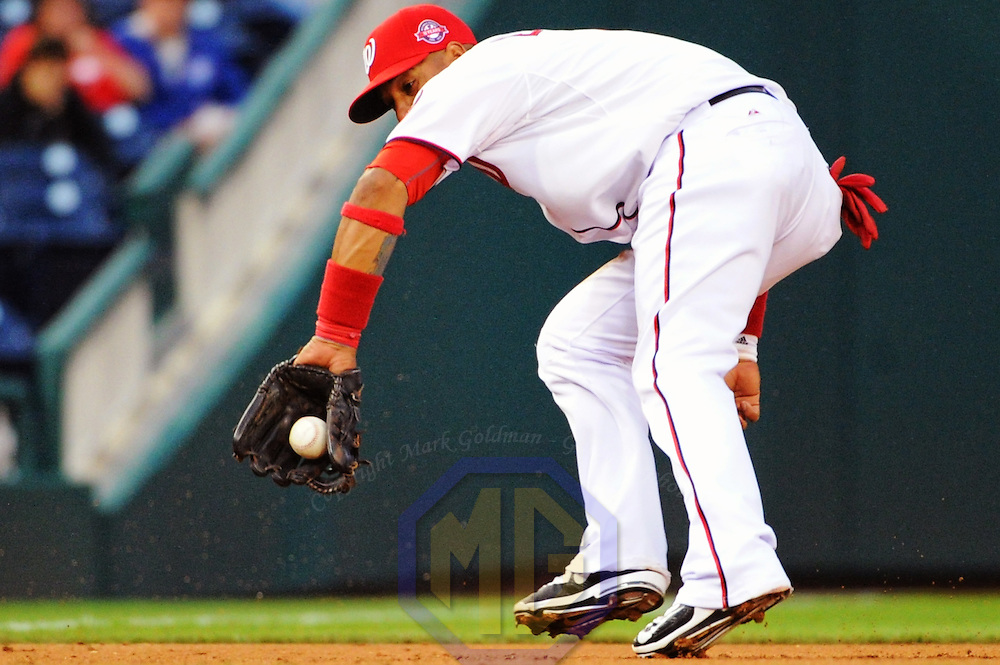 3 June 2015:  Washington Nationals third baseman Yunel Escobar (5) in action against the Toronto Blue Jays at Nationals Park in Washington, D.C. where the Toronto Blue Jays defeated the Washington Nationals, 8-0. (Photograph by Mark Goldman - Goldminephotos)