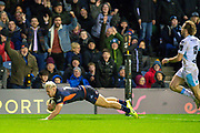 Darcy Graham (#14) of Edinburgh Rugby scores the final try during the 1872 Cup second leg Guinness Pro14 2019_20 match between Edinburgh Rugby and Glasgow Warriors at BT Murrayfield Stadium, Edinburgh, Scotland on 28 December 2019.