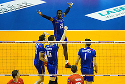 08.01.2016, Max Schmeling Halle, Berlin, GER, CEV Olympia Qualifikation, Frankreich vs Bulgarien, im Bild Jubel Mry?Sidibe (#21, Frankreich/France) // during 2016 CEV Volleyball European Olympic Qualification Match between France and Bulgaria at the  Max Schmeling Halle in Berlin, Germany on 2016/01/08. EXPA Pictures © 2016, PhotoCredit: EXPA/ Eibner-Pressefoto/ Wuechner<br /> <br /> *****ATTENTION - OUT of GER*****