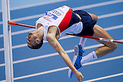 Robert Grabarz of USA competes in men's high jump qualification during the IAAF Athletics World Indoor Championships 2014 at Ergo Arena Hall in Sopot, Poland.<br /> <br /> Poland, Sopot, March 8, 2014.<br /> <br /> Picture also available in RAW (NEF) or TIFF format on special request.<br /> <br /> For editorial use only. Any commercial or promotional use requires permission.<br /> <br /> Mandatory credit:<br /> Photo by &copy; Adam Nurkiewicz / Mediasport