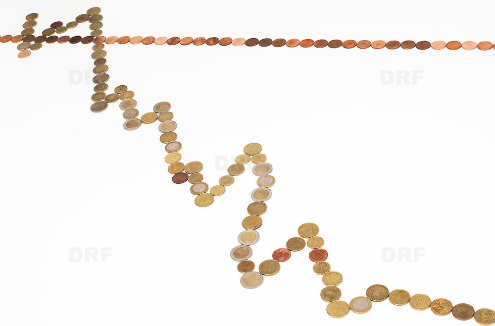 Nederland Barendrecht 29 maart 2009 20090329 Foto: David Rozing ..dalende grafiek in euromunten, zakken, dalen, minder waard worden, index, in het rood gaan, waarde vermindering, dip, recession, dalende, indexgrafiek, grafieken, in de min gaan, mineur, pessimisme, teruglopend, teruglopende resultaten, tegenvallend, tegenvallenden, waardevermindering, beursindex, beurs, bel, bubble, valuta, betaalmiddel, kosten,betaalmiddelen,recessie, kredietcrisis, economie, negatief, negatieve, zwakke econonomie, zakken, zakkende, verslechteren, minder waard worden, aandelen, kapitaalafname, afnemen, afname, .money , euro stockbeeld, stockfoto, stock, studio opname, illustratie.Foto: David Rozing
