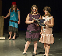 Laconia Middle School students Ashley Gagne and Madison Warman during dress rehearsal for Thoroughly Modern Millie, Jr Wednesday afternoon.  (Karen Bobotas/for the Laconia Daily Sun)