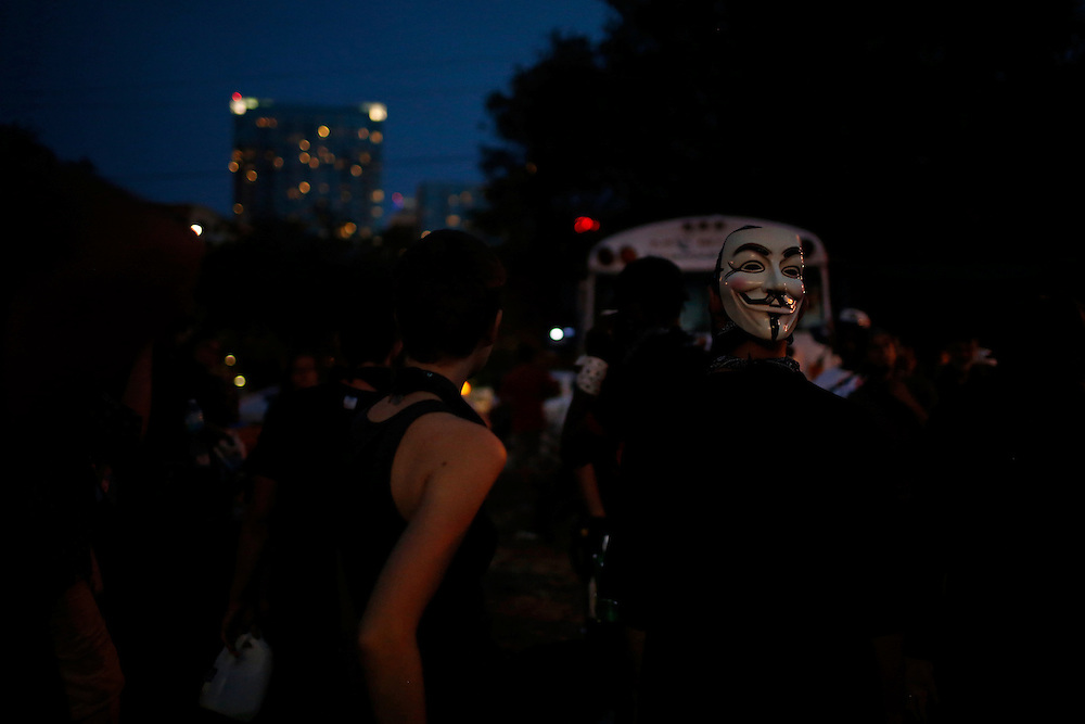 Protesters using Black Bloc tactics prepare to march through the streets of Tampa, Fla. during the 2012 Republican National Convention on August 29, 2012. The demonstrators took sandwiches to the homeless, picked up trash off of the street and spoke out against police brutality.