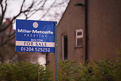 © Licensed to London News Pictures . 10/12/2013 . Bolton , UK . For Sale board outside the house . The scene outside 123 Albert Road West in Bolton today (10th December 2013) where three people died following a fire , yesterday morning (9th December 2013) . Police believe the fire was started deliberatively by architect Hassan Rafie , killing himself and his wife Mahnaz . Another woman staying in the house at the time , believed to be Mrs Rafie's mother , later died of injuries sustained in the fire , in hospital . Photo credit : Joel Goodman/LNP