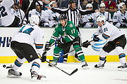 DALLAS, TX - OCTOBER 17:  Rich Peverley #17 of the Dallas Stars controls the puck against the San Jose Sharks on October 17, 2013 at the American Airlines Center in Dallas, Texas.  (Photo by Cooper Neill/Getty Images) *** Local Caption *** Rich Peverley