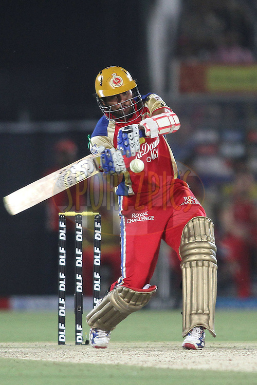Tilakaratne Dilshan of the Royal Challengers Bangalore pulls a delivery to the boundary during match 30 of the the Indian Premier League (IPL) 2012  between The Rajasthan Royals and the Royal Challengers Bangalore held at the Sawai Mansingh Stadium in Jaipur on the 23rd April 2012..Photo by Shaun Roy/IPL/SPORTZPICS