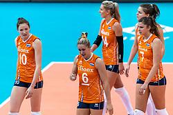 11-10-2018 JPN: World Championship Volleyball Women day 12, Nagoya<br /> Netherlands - Serbia 3-0 / Maret Balkestein-Grothues #6 of Netherlands, Lonneke Sloetjes #10 of Netherlands, Juliet Lohuis #7 of Netherlands, Yvon Belien #3 of Netherlands, Laura Dijkema #14 of Netherlands