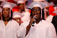 Kyrie Harris sings the National Anthem during the Trotwood-Madison High School Commencement at the Victoria Theatre in downtown Dayton, Tuesday, June 1, 2010.