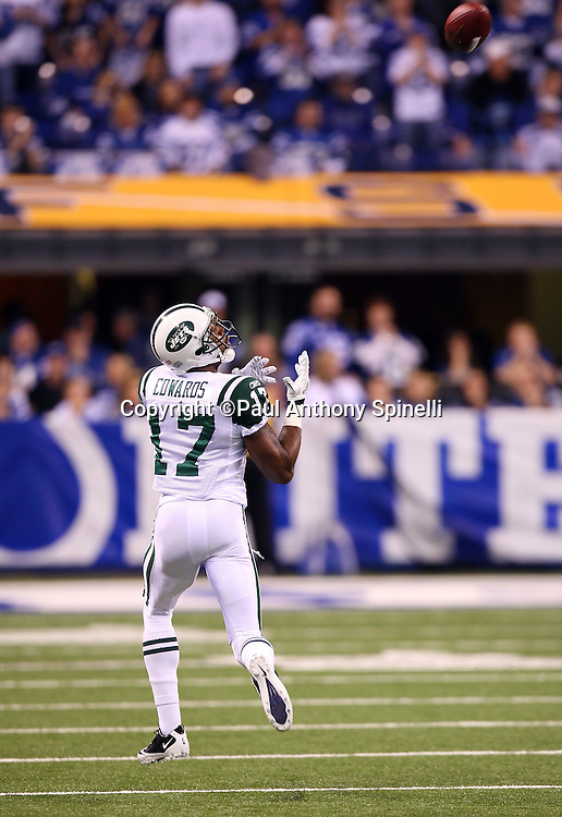 New York Jets wide receiver Braylon Edwards (17) catches an 80 yard touchdown pass that gives the Jets a 7-3 second quarter lead during the AFC Championship football game against the Indianapolis Colts, January 24, 2010 in Indianapolis, Indiana. The Colts won the game 30-17. ©Paul Anthony Spinelli