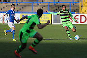 Forest Green Rovers Ethan Pinnock(16) passes the ball forward during the FA Trophy match between Macclesfield Town and Forest Green Rovers at Moss Rose, Macclesfield, United Kingdom on 4 February 2017. Photo by Shane Healey.