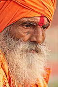 Portait of a holy man along the Ganges River in the holy city of Varanasi, India.