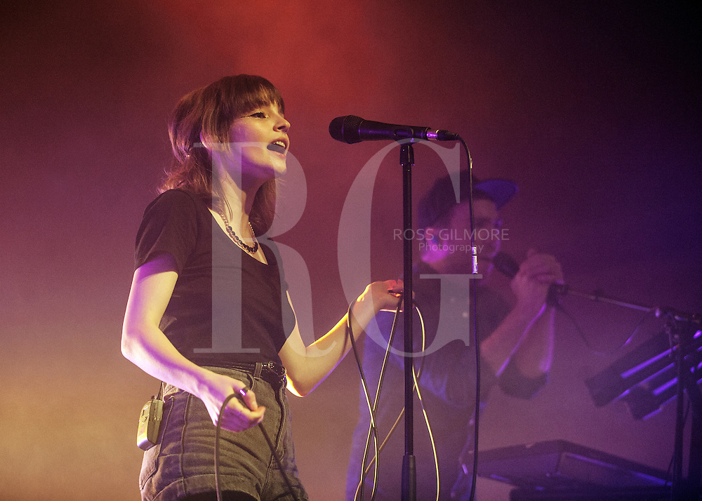 GLASGOW, UNITED KINGDOM - OCTOBER 10: Lauren Mayberry of Chvrches performs on stage at O2 ABC on October 10, 2013 in Glasgow, Scotland. (Photo by Ross Gilmore/Redferns via Getty Images)