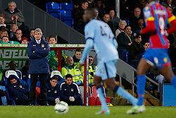 Manchester City Manager Manuel Pellegrini looks frustrated with his side 2-1 down - Photo mandatory by-line: Rogan Thomson/JMP - 07966 386802 - 06/04/2015 - SPORT - FOOTBALL - London, England - Selhurst Park - Crystal Palace v Manchester City - Barclays Premier League.
