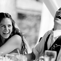 Dan and Lisa laugh during the toasts at their Whistler Wedding.