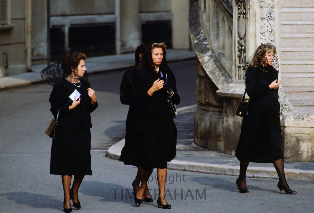 Mourner s arrive for the funeral of Princess Grace of Monaco in Monte Carlo