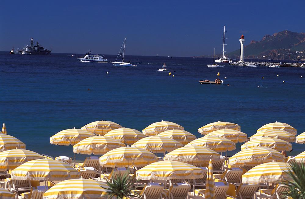 Yachts, Sunshades and Lighthouse, La Croisette, Cannes, Provence Alpes Cote d'Azur, France