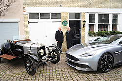 © Licensed to London News Pictures. 15/01/2013.The 100 years anniversary of Aston Martin.Plaque unveiling to mark 100th Anniversary of Aston Martin who started the company on this day (15thJanuary) in 1913 at this address(16 Henniker Mews, London, SW3 6BL).L/R, Roger Carey - Chairman of Aston Martin Heritage Trust & David Richards - Aston Martin Chairman..Photo credit : Grant Falvey/LNP..