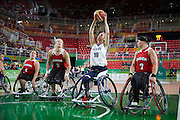 Amy Conroy for Great Britain vs Canada in the Group A Preliminary Womens Wheelchair basketball at the Rio Olympic Arena.  Rio 2016 Paralympic Games. Thursday 8th September 2016