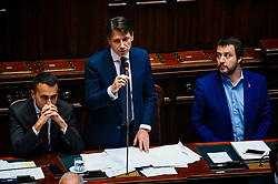 Luigi Dimaio, Giuseppe Conte and Matteo Salvini. Confidence vote for the new government at the Italian Chamber of Deputies on June 6, 2018 in Rome, Italy. Christian Mantuano / OneShot