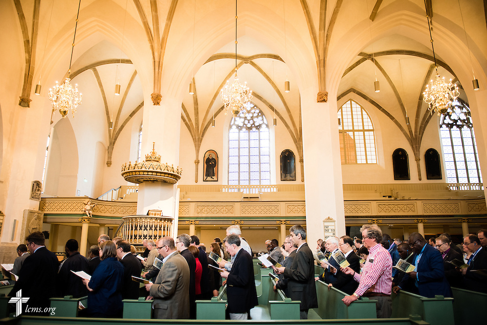 Lutheran church leaders from around the world gather Tuesday, May 5, 2015, at the Town and Parish Church of St. Mary's for morning Matins during the International Conference on Confessional Leadership in the 21st Century in Wittenberg, Germany. LCMS Communications/Erik M. Lunsford