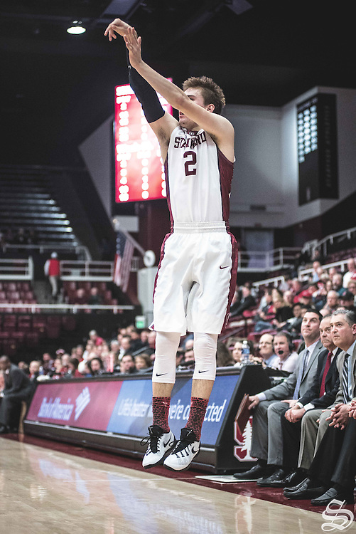 Robert Cartwright #2 makes a three vs. Washington State on January 12, 2017 at Maples Pavilion in Stanford, CA. Photo by Ryan Jae.